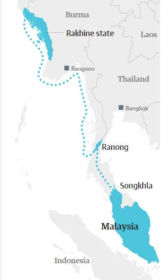 *المسار الذي يسلكه مهاجرو الروهينجا نحو ماليزيا.