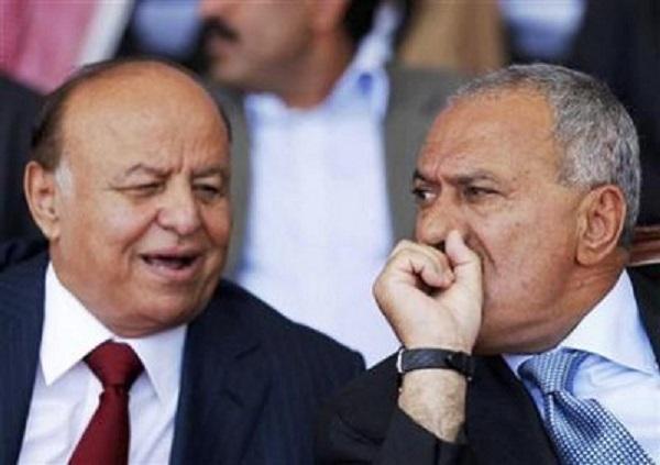 علي عبد الله صالح يمين عبد ربه منصور الهادي يسار
