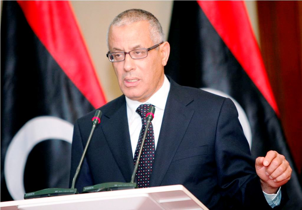 Libyan Prime Minister Ali Zeidan speaks during a joint news conference with Libyan General National Congress President Mohamed al-Magariaf at the Prime Minister's Office in Tripoli February 5, 2013.   REUTERS/Ismail Zitouny (LIBYA - Tags: POLITICS CIVIL UNREST)