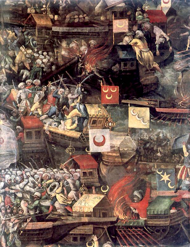 رسمة تُظهر الأسطول العثمانيّ في معركة ليبانت.