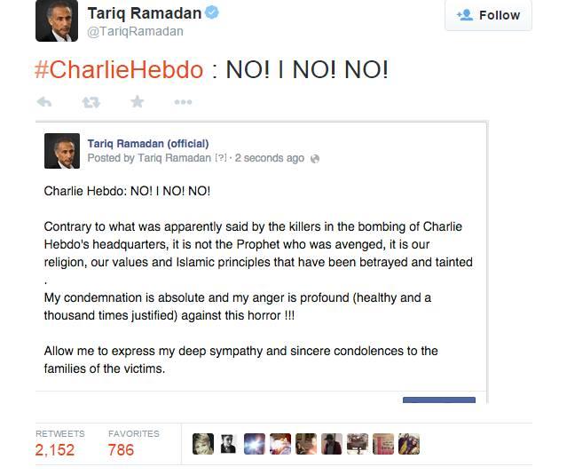 تعليق المفكر طارق رمضان على الهجوم المسلح