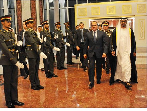 الرئيس المصري عبدالفتاح السيسي في ضيافة ولي عهد أبوظبي محمد بن زايد آل نهيان