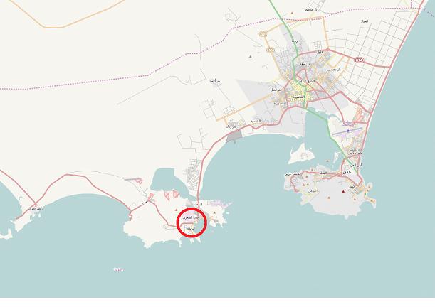 خريطة لمحافظة عدن حيث تُشير الدائرة الحمراء إلى مدينة البريقة