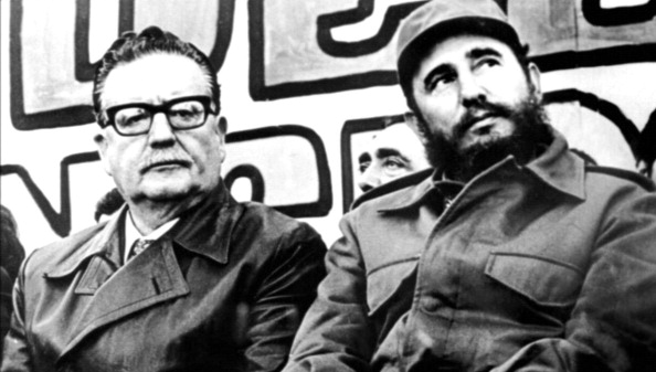 UNSPECIFIED - CIRCA 1754: Salvador Allende Gossens 1908 -1973 (left) president of Chile 1970-73, with Fidel Castro born 1926, (Cuban politician and Prime Minister of Cuba from 1959 to 1976, and President 1965-2008. (Photo by Universal History Archive/Getty Images)