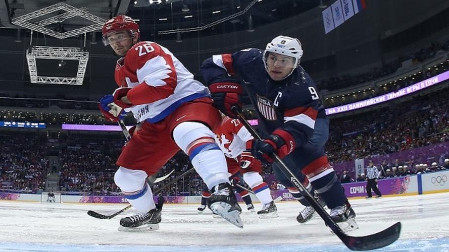 صورة من مباراة الهوكي بين روسيا والولايات المتحدة