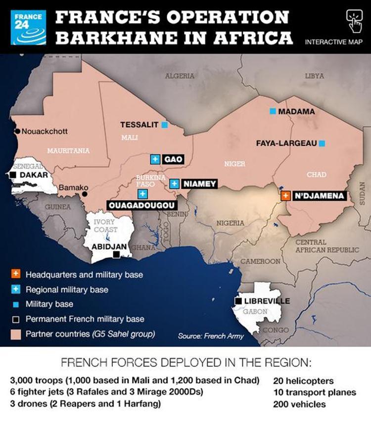 """خارطة توضيحية للعملية العسكرية """"برخان"""". المصدر: الموقع الإلكتروني لقناة فرانس 24 france 24"""