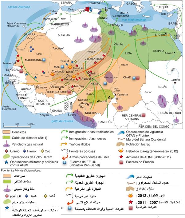 صورة توضيحية للصراع الأمني والعسكري والاقتصادي بالمنطقة، مع التهريب والهجرة غير الشرعية.