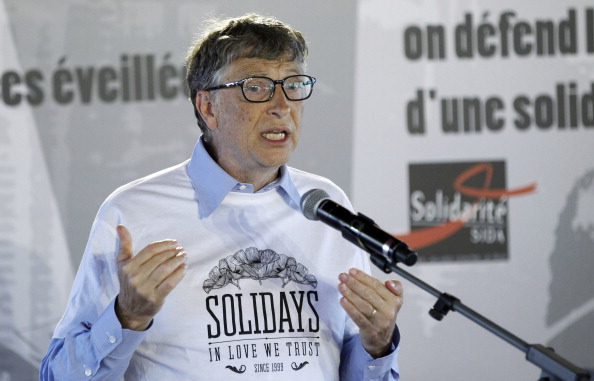 PARIS, FRANCE - JUNE 27: Bill Gates, the co-Founder of the Microsoft company and co-Founder of the Bill and Melinda Gates Foundation, delivers a speech during a forum with young people at the Solidays festival on June 27, 2014 in Paris, France. Bill Gates visited the 16th edition of the Solidays music festival, dedicated to the fight against AIDS. (Photo by Chesnot/WireImage)
