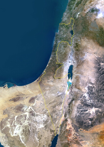 Israel, Middle East, Asia, True Colour Satellite Image With Border
