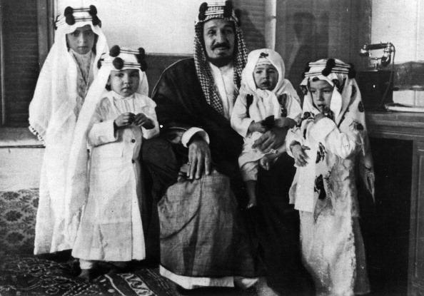 King Ibn Saud Of Saudi Arabia WithHis Children