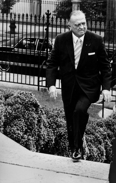 WASHINGTON, DC - JUNE 12: J. Edgar Hoover arriving at the White House for the wedding of Tricia Nixon and Edward Finch Cox. (Photo by Matthew Lewis/The Washington Post via Getty Images)