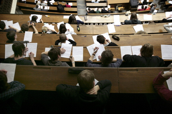 GERMANY, MUNICH, Ludwig Maximilian University of Munich - Ludwig-Maximilians-Universitaet Muenchen, Our picture shows a fully occupied lecture large hall during a written examination in the Ludwig Maximilian University of Munich.