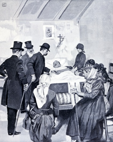 King Umberto I and Mr Depretis Visiting Cholera Patients in the Area of Cuneo in 1884, from Italian Illustration