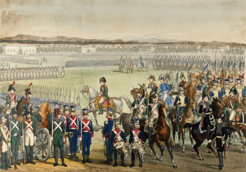 Napoleon reviewing the Italian and Polish troops in the field, Lichtenberg, June 13, 1805. Napoleonic Wars, Italy, 19th century.