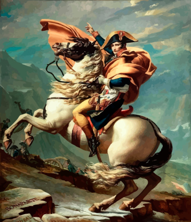Digitally restored vector painting of Napoleon Bonaparte on his horse.
