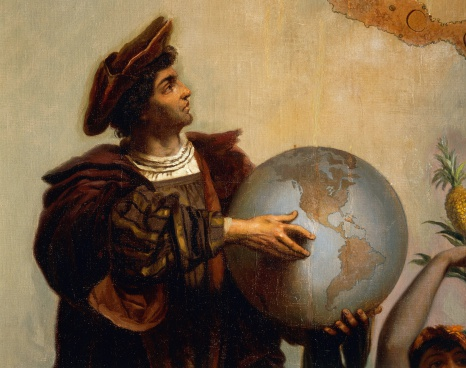 Christopher Columbus (1451-1506), detail from Allegory on Charles V of Habsburg (1500-1558) as Ruler of the world, painting by Peter Johann Nepomuk Geiger (1805-1880), Throne Room, Miramare castle, Trieste, Friuli-Venezia Giulia, Italy