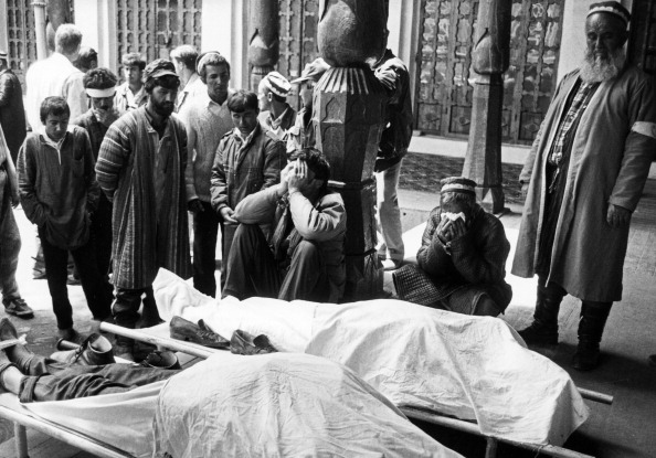 Mourning of people killed in clashes between government supporters and opposition dushanbe on may 5-7, 1992, tajikistan.