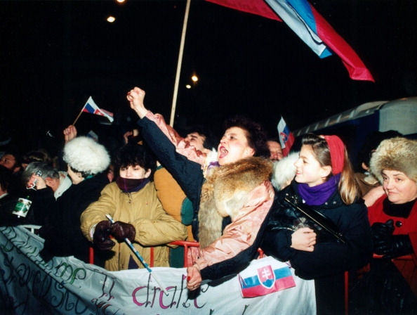 On Dec. 31, 1993 Czechoslovakia - called in its last days the Czech and Slovak Federative Republic - ceased to exist. Residents of Slovak capital of Bratislava celebrate their independence on New Year's Eve 1992.