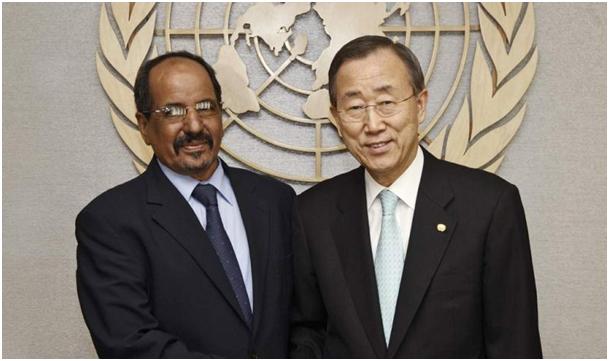 بان كي مون مع زعيم البوليساريو محمد عبد العزيز