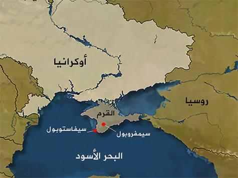 خريطة توضح موقع شبه جزيرة القرم