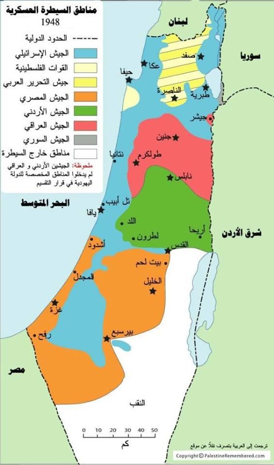 توضيح لمسارات الجيوش العربية خلال حرب 1948