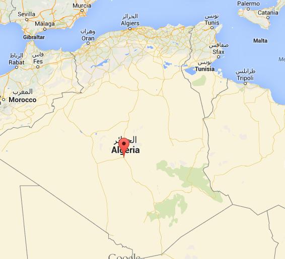مدينة عين صالح تقع موضع العلامة الحمراء