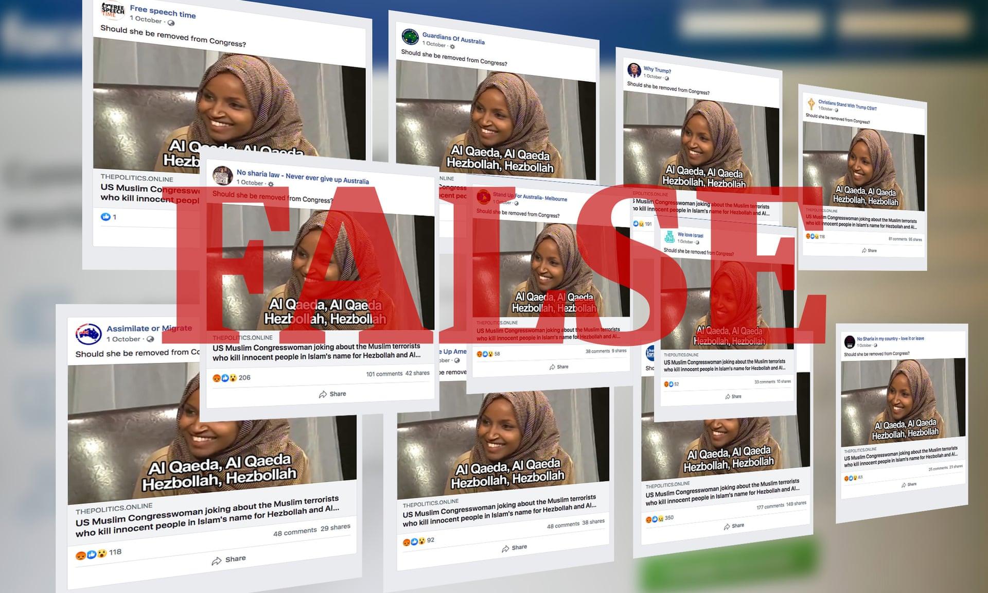 مجموعة من منشورات الأخبار المزيفة التي قابلها صحفيو الجارديان أثناء إجراء التحقيق. المصدر: الجارديان