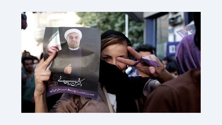 جانب من المظاهرات المؤيدة لروحاني.