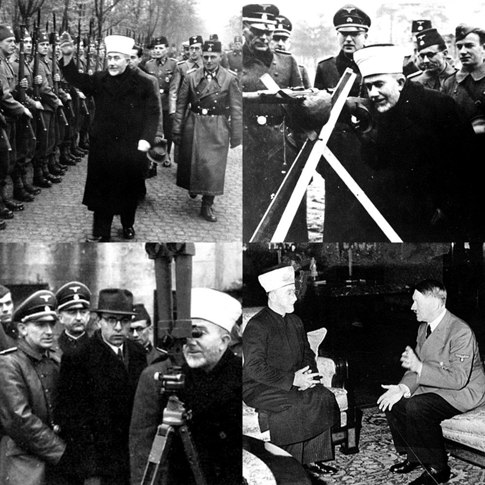 مفتي القدس أثناء تواجده في ألمانيا وتفقده للجيش الألماني النازي ولقاؤه بهتلر