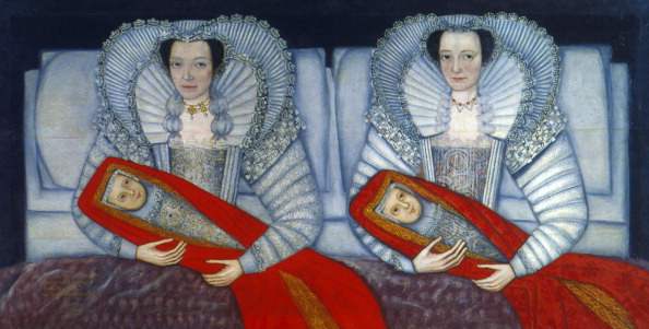 'The Cholmondeley Sisters', 1600-1610. Double portrait of the sisters sitting in bed, each holding a baby. From the Tate Gallery, London. (Photo by Art Media/Print Collector/Getty Images)