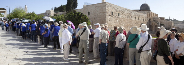 Panoramic view showing tour groups lined-up and waiting to enter the Islamic holy site Masjid Qubbat As-Sakhrah or The Dome of Rock, Jerusalem, Israel. (Photo by: Independent Picture Service/UIG via Getty Images)