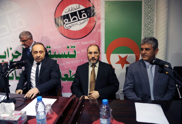 (LtoR) The president of Algeria's Jil Jadid party Sofiane Djilali, the president of the Movement for the Society of Peace (MSP), Abderrezak Mokri and the spokesman of the opposition Rally for Culture and Democracy (RCD), Mohcine Belabbas arrive to give a press conference organized by political parties calling for the boycott of Algeria's April 17 presidential election on April 11, 2014 in the capital Algiers. The three main moderate Islamist parties have forged an unlikely alliance with the fiercely secularist Rally for Culture and Democracy to call on voters to shun the election. AFP PHOTO/ FAROUK BATICHE (Photo credit should read FAROUK BATICHE/AFP/Getty Images)