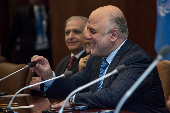 UNITED NATION, NEW YORK, UNITED STATES - 2015/09/30: Prime Minister Al-Abadi (front) sits at the conference table. Ban Ki-moon welcomed Iraqi Prime Minister Haydar Al-Abadi and select members of his cabinet at the United Nations. (Photo by Albin Lohr-Jones/Pacific Press/LightRocket via Getty Images)