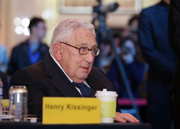 """BEIJING, CHINA - OCTOBER 31: (CHINA OUT) Henry Kissinger, Former United States Secretary of State, attends an international forum and gives a lecture on """"World Order and China's Role"""" on October 31, 2015 in Beijing, China. (Photo by ChinaFotoPress)***_***"""