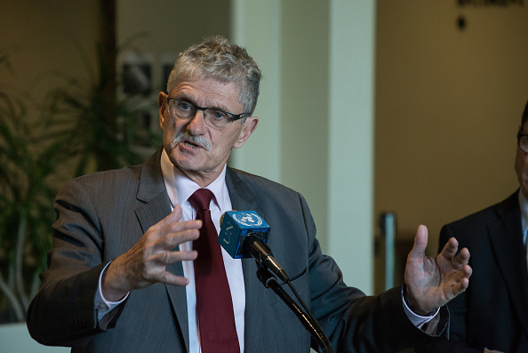 Mogens Lykketoft speaks to the UN press corps. United