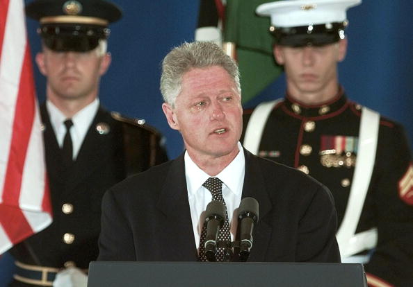 With tears in his eyes, US President Bill Clinton