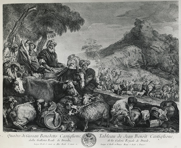 UNSPECIFIED - DECEMBER 16: Patriarch Jacob's journey, drawing by Giovanni Benedetto Castiglione, known as Grechetto (1609-1664), engraving by Pierre Aveline (1656-1722). 17th century. (Photo by DeAgostini/Getty Images)
