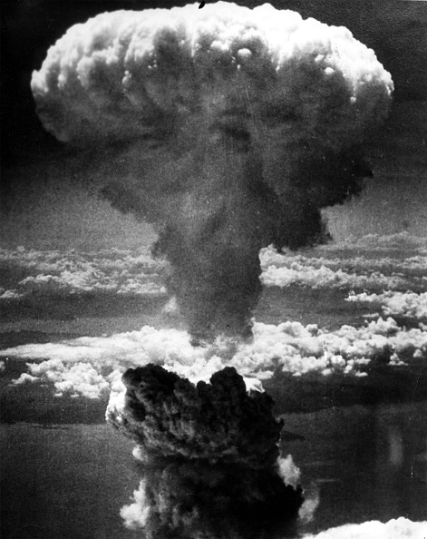 1945.  Japan.  Explosion of the atomic bomb on Nagasaki. (Photo by: Photo12/UIG via Getty Images)
