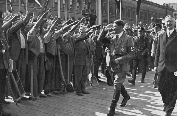 Adolf Hitler at the beginning of the works for the construction of the Reichsbank, May 5, 1934, Weimar Republic. (Photo by: Photo12/UIG via Getty Images)
