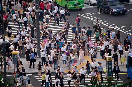 Crowds in Gwanghwamun Gate Plaza.