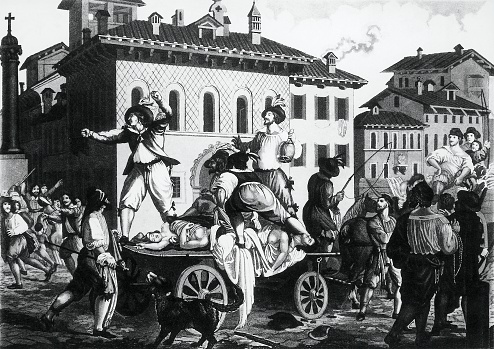 Chariot of plague victims, illustration for the Betrothed by Alessandro Manzoni (1785-1873), engraving, Italy, 19th century