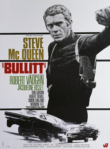 A poster for Peter Yates' 1968 action film 'Bullitt' starring Steve McQueen. (Photo by Movie Poster Image Art/Getty Images)