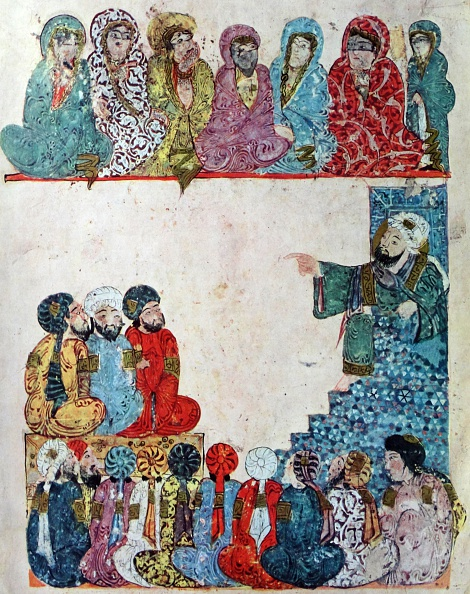 Abu Zayd preaching; Illustration from Maqamat of al-Hariri