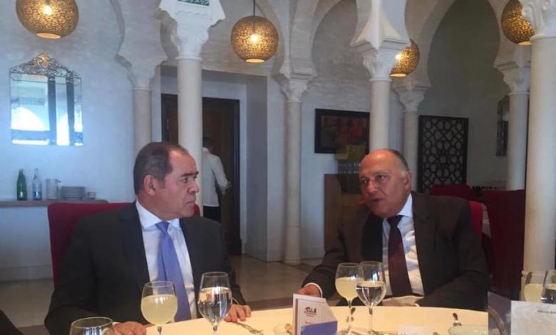 وزير الخارجية الجزائري صبري بوقادوم رفقة نظيره المصري سامح شكري