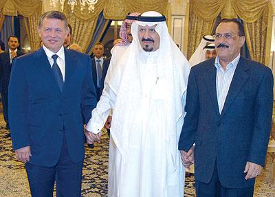 ولي العهد السعودي الأمير سلطان بن عبد العزيز، يستقبل رئيس اليمن وملك الأردن بقصره في مدينة أغادير المغربية