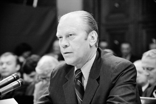 Gerald Rudolph Ford (1913-2006, born Leslie John Lynch) 38th President of the United States of America 1973-1974 appearing at a House Judiciary Subcommittee hearing about his pardoning of Nixon.
