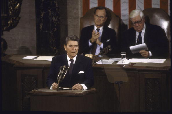 Pres Ronald Reagan giving his post-Geneva summit address to