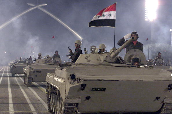 Iraqi tanks are displayed during a military parade