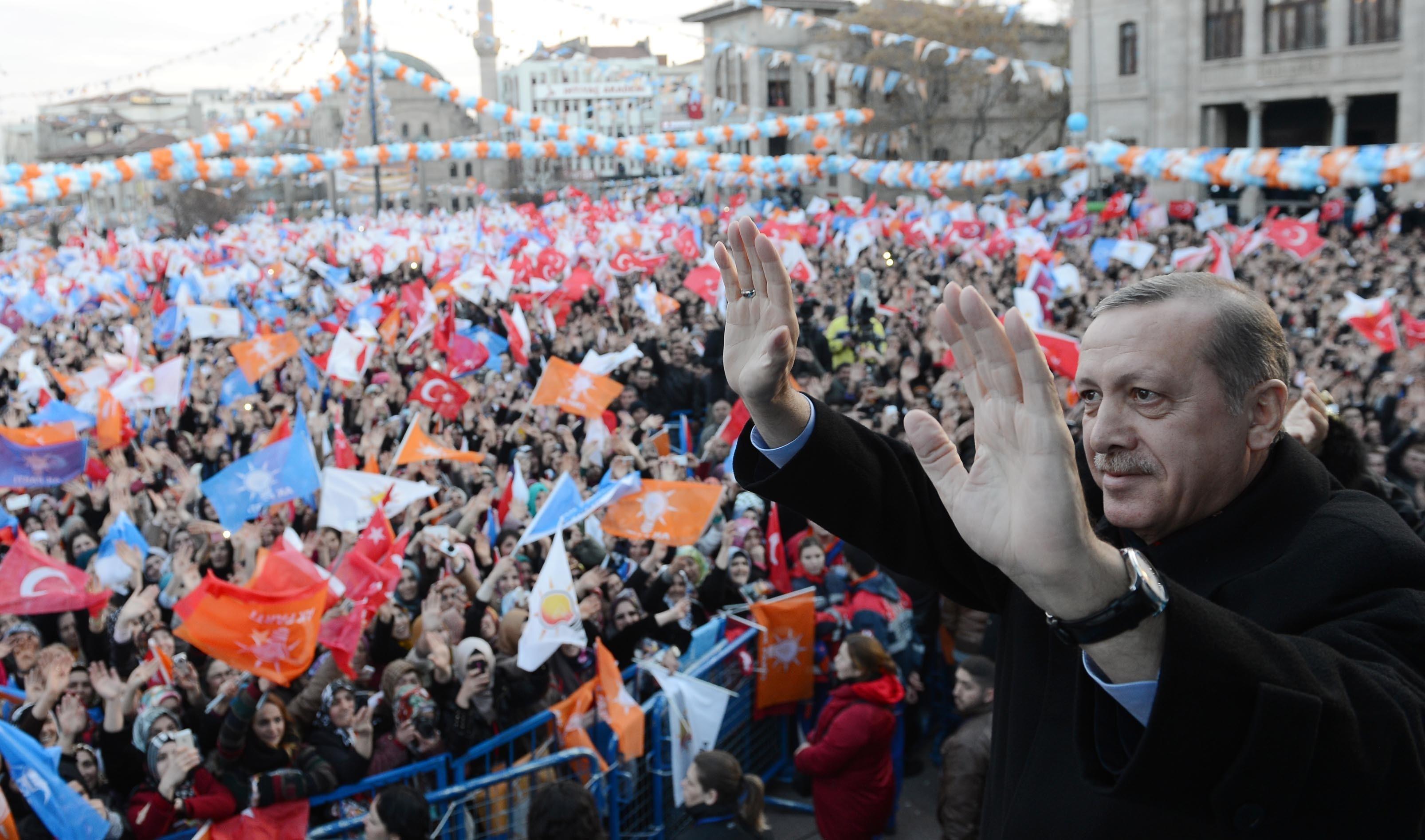 أردوغان في كلمة أمام أنصاره في إطار حملته الانتخابية الأخيرة