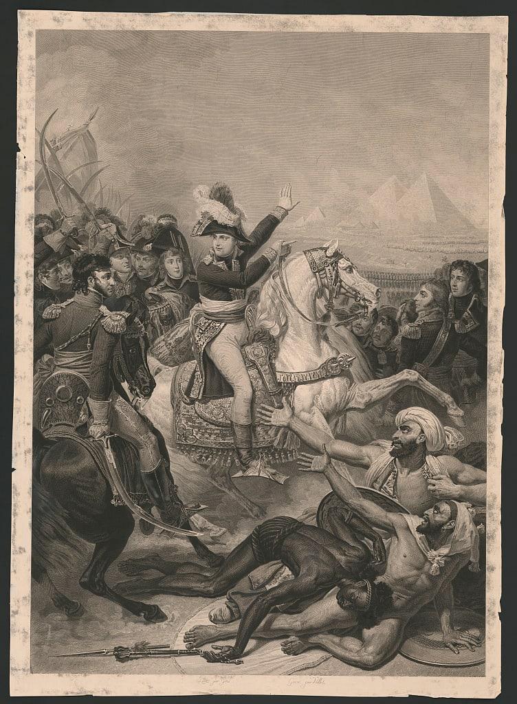 لوحة فنية تعبر عن حملة الغزو الفرنسية لمصر بقيادة نابليون